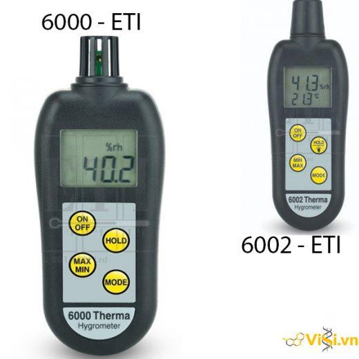 Thiết bị đo độ ẩm nhiệt độ cầm tay 6000 ETI, Thiết bị đo độ ẩm nhiệt độ cầm tay 6002 ETI