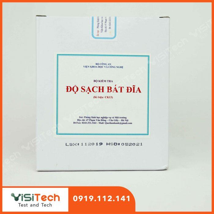 Kit kiểm tra nhanh độ sạch bát đĩa CK 13 giúp phát hiện nhanh vết mỡ hoặc tinh bột có trên bát đĩa